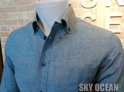 画像3: 長袖ダンガリーシャツ01(ライトブルー)
