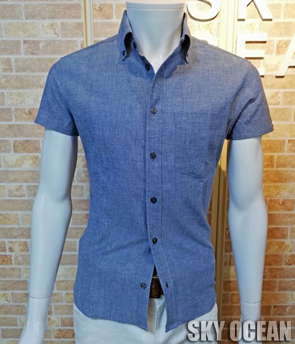画像1: 半袖ダンガリーシャツ01(ライトブルー)