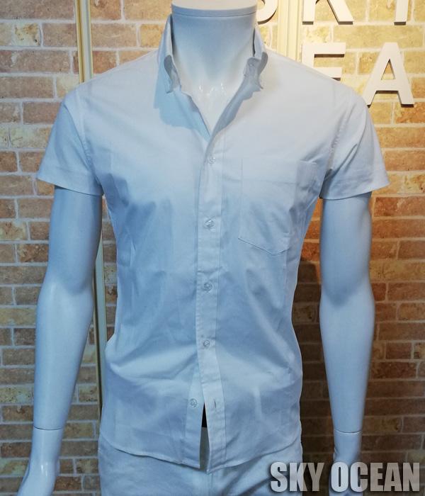 画像1: 半袖ストレッチシャツ01(ホワイト)