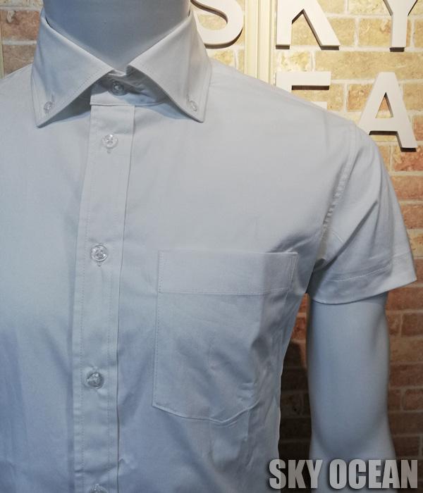 画像2: 半袖ストレッチシャツ01(ホワイト)