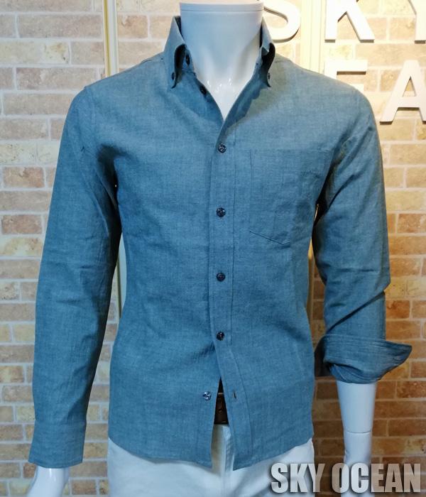 画像1: 長袖ダンガリーシャツ01(ライトブルー)