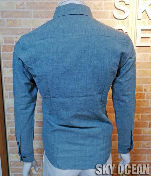 画像2: 長袖ダンガリーシャツ01(ライトブルー)