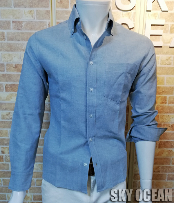 画像1: 長袖ダンガリーシャツ02(水色)