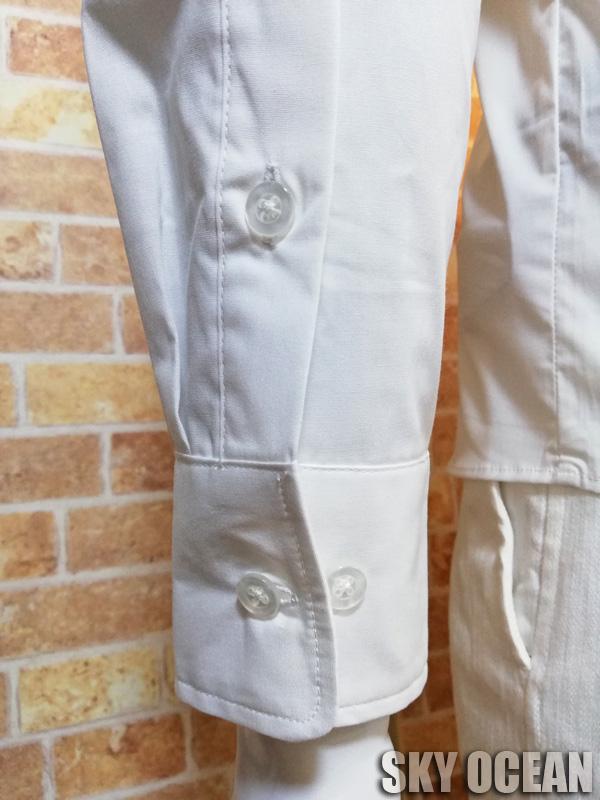 画像5: 長袖ストレッチシャツ01(ホワイト)
